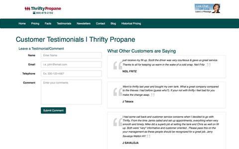 Screenshot of Testimonials Page thriftypropane.com - Customer Testimonials | Thrifty Propane - captured Sept. 6, 2016