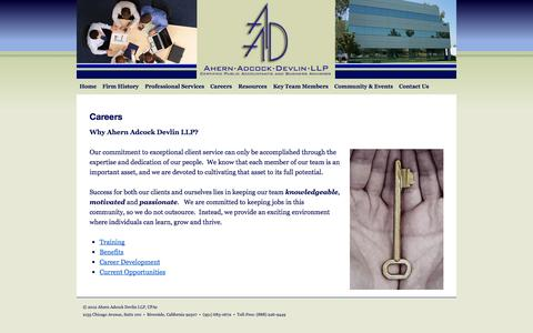 Screenshot of Jobs Page aadcpas.com - Careers | Ahern Adcock Devlin LLP - captured Oct. 4, 2014