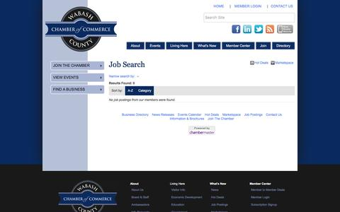 Screenshot of Jobs Page wabashchamber.org - Job Search - Wabash County Chamber of Commerce, IN - captured Nov. 28, 2016
