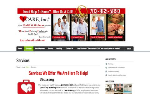 Screenshot of Services Page icareabouthealth.net - Services- Premier Home Health Care Agency in Fairfax, Virginia - captured Nov. 2, 2014