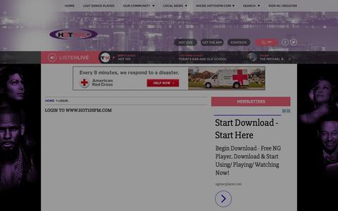 Screenshot of Signup Page hot105fm.com - HOT105FM.com | www.hot105fm.com | HOT 105 - captured April 10, 2017
