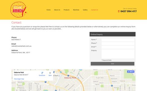 Screenshot of Contact Page snackattack.com.au - Snack Attack, WA | Snack & Drink Vending Services - captured Dec. 2, 2016