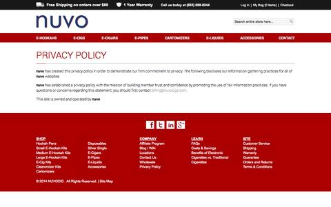 Screenshot of Privacy Page nuvocig.com - Privacy Policy - captured Sept. 30, 2014