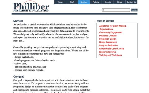 Screenshot of Services Page philliberresearch.com - Evaluation Design Services - Philliber Research & Evaluation - captured Sept. 27, 2015
