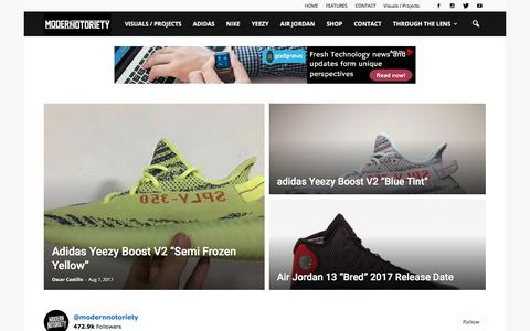 Screenshot of Home Page modern-notoriety.com - Modern Notoriety   Streetwear, Sneaker News and Release Dates - captured Aug. 9, 2017