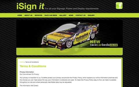 Screenshot of Terms Page isignit.co.nz - Terms & Conditions : i Sign it - For all your Signage, Poster and Display Requirements - captured Sept. 30, 2014