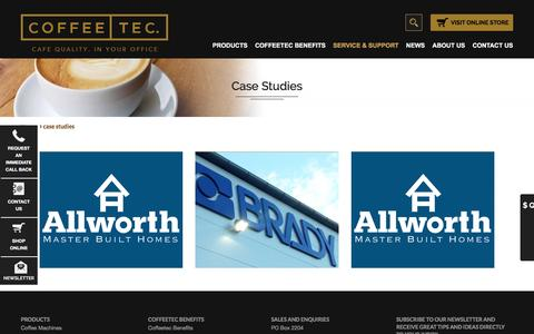 Screenshot of Case Studies Page coffeetec.com.au - case studies - Coffee Tec. - captured July 14, 2016