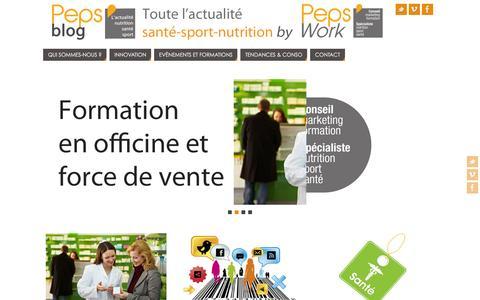 Screenshot of Blog pepswork.fr - PepsWork, marketing de l'innovation, spécialiste en nutrition, sport et santé. - captured Dec. 8, 2015