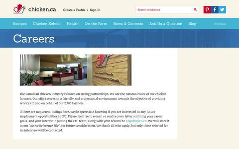 Screenshot of Jobs Page chicken.ca - Careers » Chicken.ca - captured Sept. 19, 2014