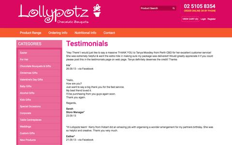 Screenshot of Testimonials Page lollypotz.com.au - Testimonials from Lollypotz' many happy customers - captured July 22, 2018