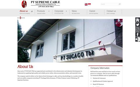 Screenshot of About Page sucaco.com - PT SUCACO Tbk | Supreme Cable Manufacturing & Commerce - captured Sept. 26, 2018