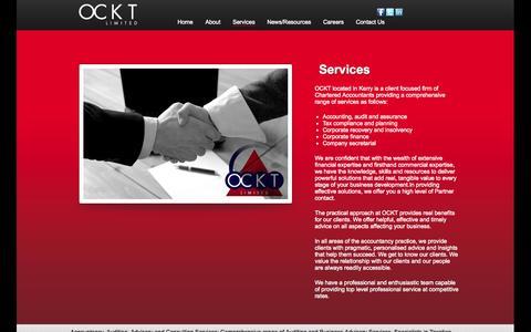 Screenshot of Services Page ockt.ie - OCKT Chartered Accountants - Killarney and Castleisland, Co.KerryOCKT - captured Oct. 7, 2014