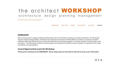 Screenshot of Jobs Page thearchitectworkshop.net - careers — the architect WORKSHOP - captured Oct. 15, 2018