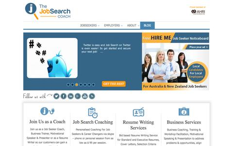 Screenshot of Home Page Blog thejobsearchcoach.net - TheJobSearchCoach Welcome - captured Oct. 7, 2014