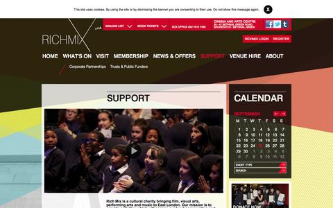 Screenshot of Support Page richmix.org.uk - Support :: Rich Mix - captured Sept. 25, 2014