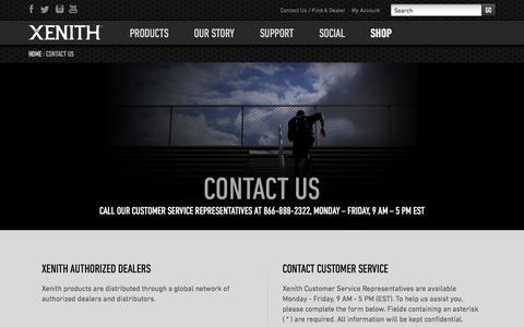 Screenshot of Contact Page xenith.com - Contact Xenith | Find an Authorized Xenith Dealer - captured Oct. 28, 2014