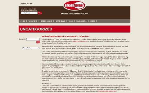 Screenshot of Press Page smashburger.com - Uncategorized Archives - Smashburger - captured Sept. 17, 2014
