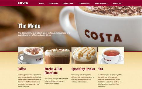 Screenshot of Menu Page costa.co.uk - Our Menu - Costa Coffee - captured Nov. 4, 2014