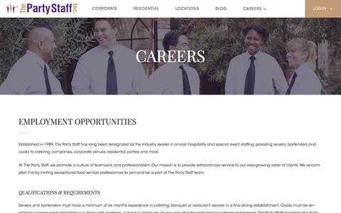 Screenshot of Jobs Page partystaff.com - Careers - Party Staff - captured Sept. 22, 2018