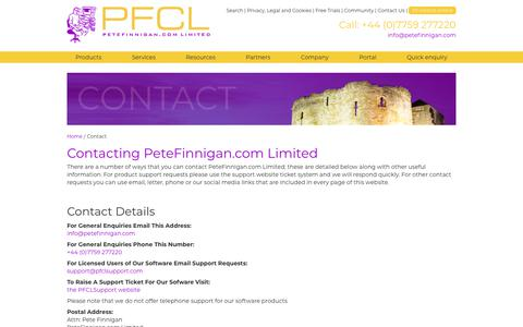 Screenshot of Contact Page petefinnigan.com - Contact PeteFinnigan.com Limited - captured Sept. 27, 2018