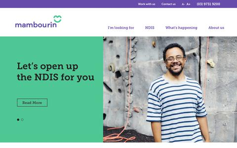 Screenshot of Home Page mambourin.org - Disability Services & Disability Care - NDIS Australia - captured Dec. 17, 2018