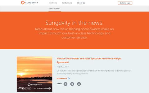 Screenshot of Press Page sungevity.com - News - Sungevity - captured Sept. 2, 2017