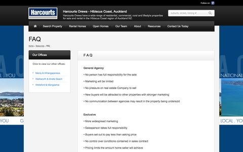Screenshot of FAQ Page harcourts.co.nz - FAQ | Harcourts Orewa - Hibiscus Coast, Auckland | Harcourts Orewa have a wide range of residential, commercial, rural and lifestyle properties for sale and rental in the Hibiscus Coast region of Auckland NZ. - captured Sept. 22, 2014
