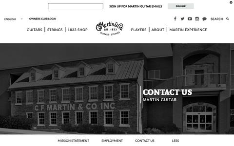 Screenshot of Contact Page martinguitar.com - Contact Martin Guitar | Customer Service | C.F. Martin & Co. - captured May 22, 2019