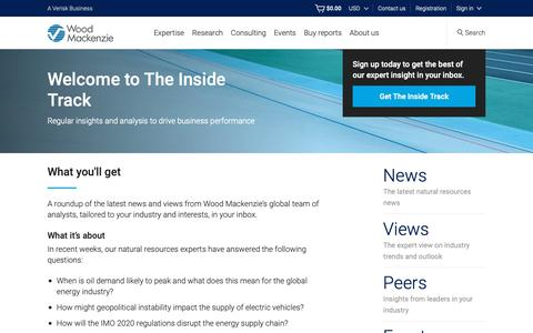 Screenshot of Signup Page woodmac.com - The Inside Track - Wood Mackenzie's regular news digest  | Wood Mackenzie - captured Jan. 18, 2019