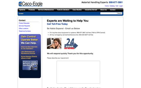 Screenshot of Contact Page cisco-eagle.com - Cisco-Eagle Contact Information - Inquire about Material Handling - captured Sept. 19, 2014