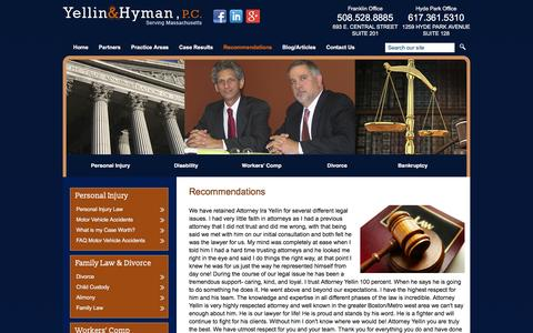 Screenshot of Testimonials Page yellin-hyman.com - Testimonials | Yellin & Hyman, P.C. | Franklin Massachusetts - captured Feb. 26, 2016