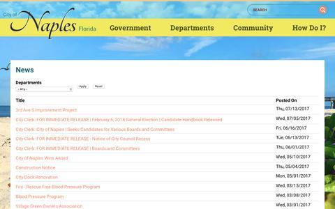 Screenshot of Press Page naplesgov.com - News   Naples, Florida - captured Aug. 1, 2017
