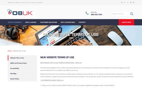 Screenshot of Terms Page 08uk.co.uk - 08uk Website Terms of Use : 08UK Communicating Interactive Solutions - captured Oct. 19, 2018