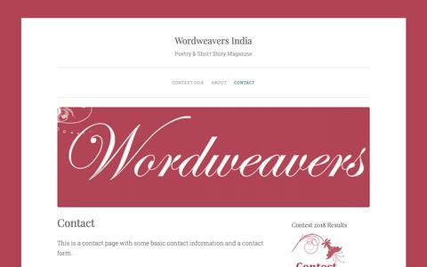 Screenshot of Contact Page wordweavers.in - Contact – Wordweavers India - captured Oct. 18, 2018