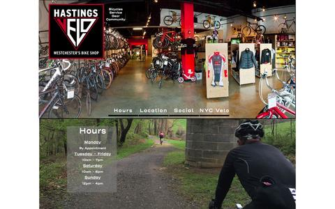 Screenshot of Home Page Hours Page hastingsvelo.com - Home - captured May 15, 2017