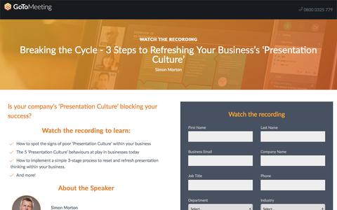 Screenshot of Landing Page gotomeeting.com - Breaking the Cycle - 3 Steps to Refreshing Your Business's 'Presentation Culture' - captured April 14, 2018