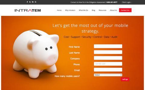 Screenshot of Contact Page intratem.com - Start Now – Intratem - captured June 25, 2018
