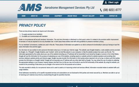 Screenshot of Privacy Page amsaustralia.com - Privacy Policy | Aerodrome Management Services Pty Ltd - captured Oct. 4, 2014