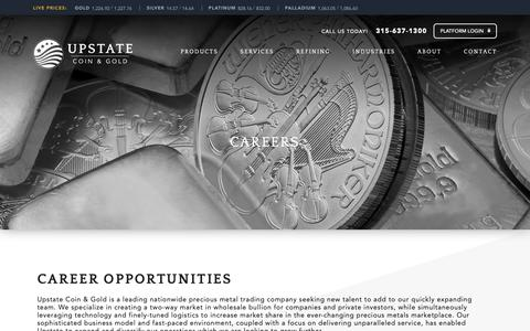 Screenshot of Jobs Page upstatecoins.com - Careers - UPSTATE Coin - Gold - captured Oct. 19, 2018