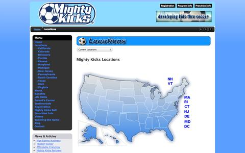 Screenshot of Locations Page mightykicks.net - Locations - captured Oct. 7, 2014