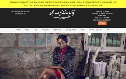 Screenshot of Home Page manoswartz.com - Mano Swartz Furs | Fine Coats, Vests and Jackets | Furrier - captured Dec. 9, 2018