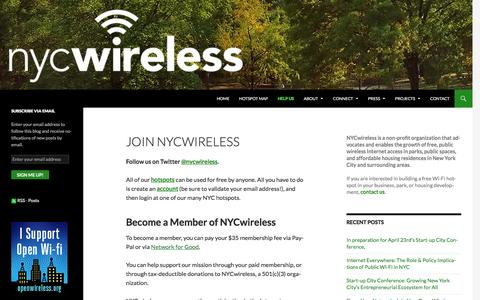 Screenshot of Signup Page nycwireless.net - Join NYCwireless | NYCwireless - captured Aug. 15, 2016