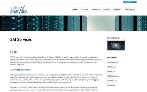 Screenshot of Services Page salesanalytics.com - Sales Analytics |   Services - captured July 10, 2019