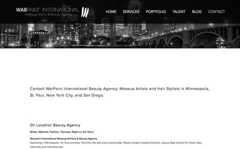 Screenshot of Contact Page warpaintinternational.com - CONTACT WARPAINT — Warpaint International Makeup Artistry & Beauty Agency - captured Oct. 4, 2014