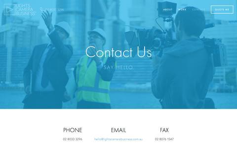Screenshot of Contact Page lightscamerabusiness.com.au - ContactĐLCB Video Production Sydney Ń Lights Camera Business - captured Dec. 10, 2015