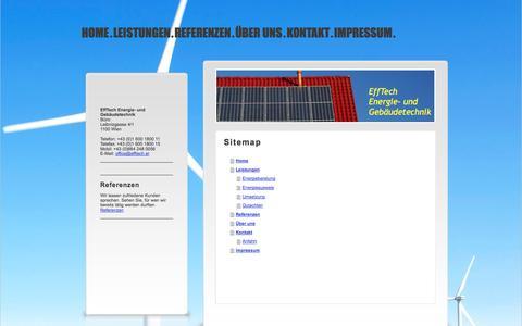 Screenshot of Site Map Page efftech.at - Home - EffTech Energie- und Gebäudetechnik - captured Sept. 29, 2014
