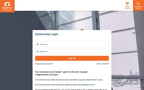 Screenshot of Login Page gigamon.com - Login - captured Aug. 21, 2018