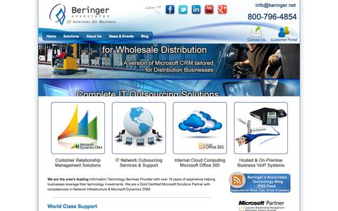 Screenshot of Home Page beringer.net - IT Support, IT Outsourcing, Microsoft CRM, PA, NJ Philadelphia - captured Sept. 10, 2015