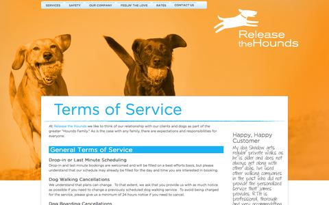 Screenshot of Terms Page releasethehounds.ca - RTH Vancouver Terms of Service - captured Oct. 26, 2014