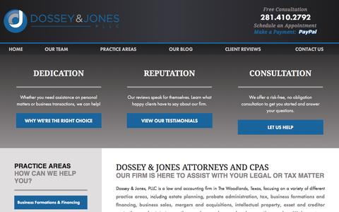 Screenshot of Team Page dossey.com - Estate Planning, Probate, Business, Tax, & Patent Attorneys | Our Team | The Woodlands TX Law Firm - captured Feb. 9, 2016